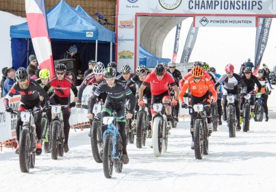 USA Cycling Fatbike Championships; Men's Open Class Start; Powder Mountain; Ogden, Utah; February 14, 2015; Photo: Tyler Tate/T Squared Action Sports