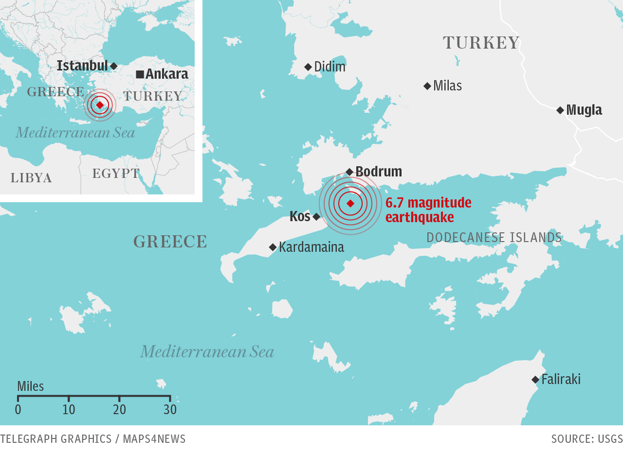 Earthquake rocks Greece and Turkey: Two dead on Kos as tourists flee amid tsunami