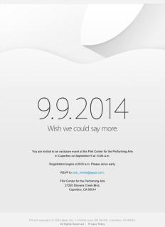 米Apple、9月9日(現地時間)にスペシャルイベント開催を正式発表!iPhone 6とともにiWatchも発表されるか?