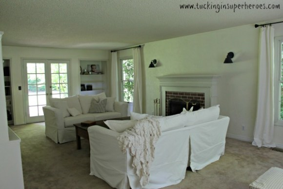 white slipcovered couch farmhouse 1 www.tuckinginsuperheroes.com