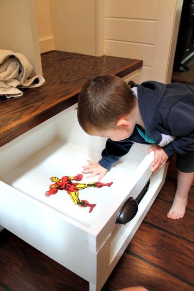 tuckingsuperheroes.com mudroom drawers