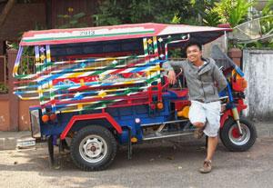 Your guide, Ere, and the Tuk Tuk Safari wheels