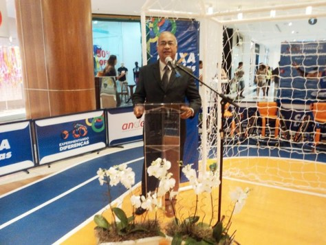 Foto Túlio de Pinho apresentando evento CEF, Shopping Rio Sul,RJ,29.1.15
