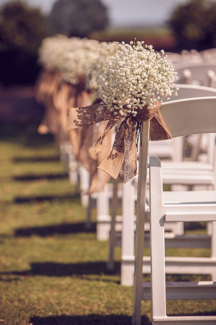 45 chic rustic burlap lace wedding ideas and inspiration burlap wedding ideas Rustic Romantic Burlap Peach Wedding Aisle Chair D cor