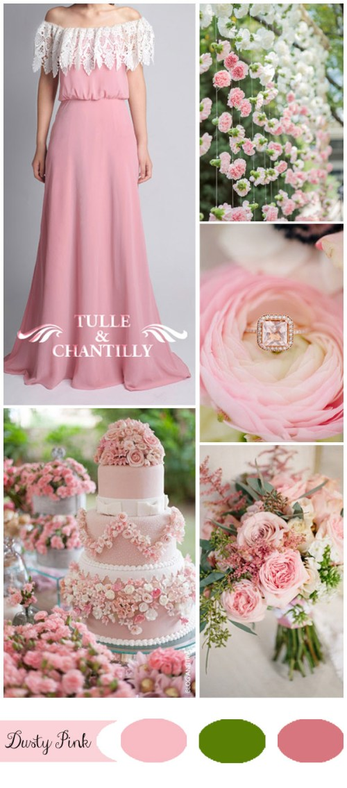 Brilliant Dusty Pink Green Spring Wedding Ideas Pink Bridesmaid Dresses Pink Bridesmaid Dresses Tulle Chantilly Wedding Blog Rose G Colored Wedding Dresses Rose Colored Wedding Gown