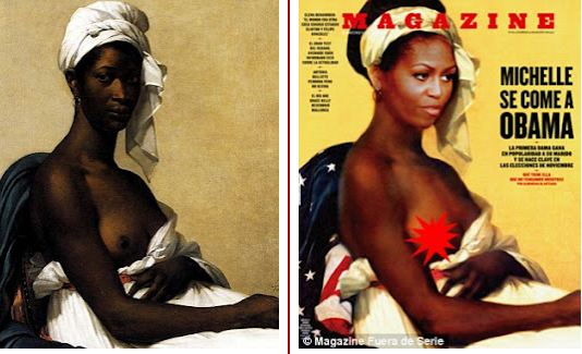 Spanish Mag puts Michelle Obama's Head On A Portrait Of Topless Slave