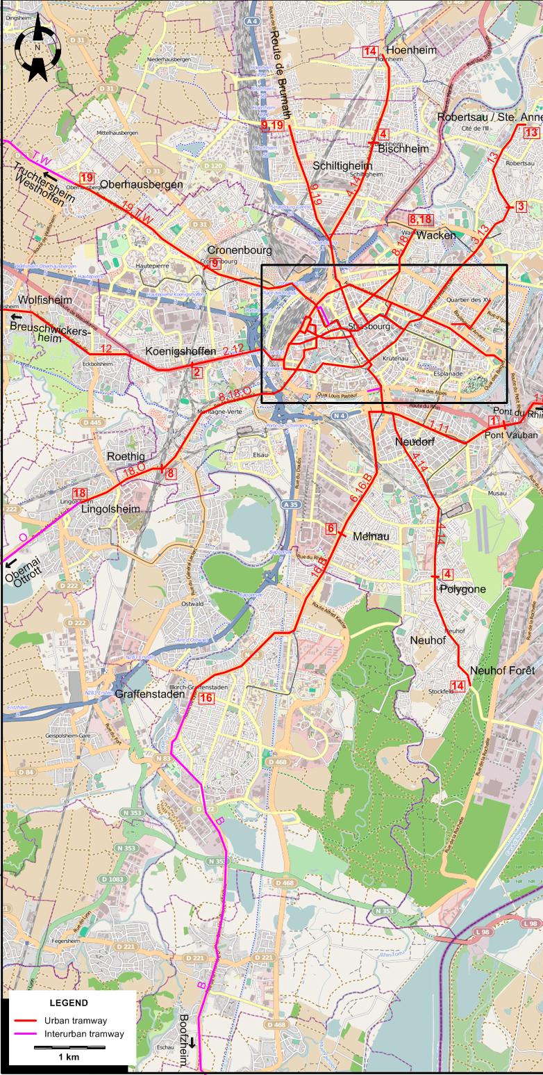 Large detailed map of strasbourg