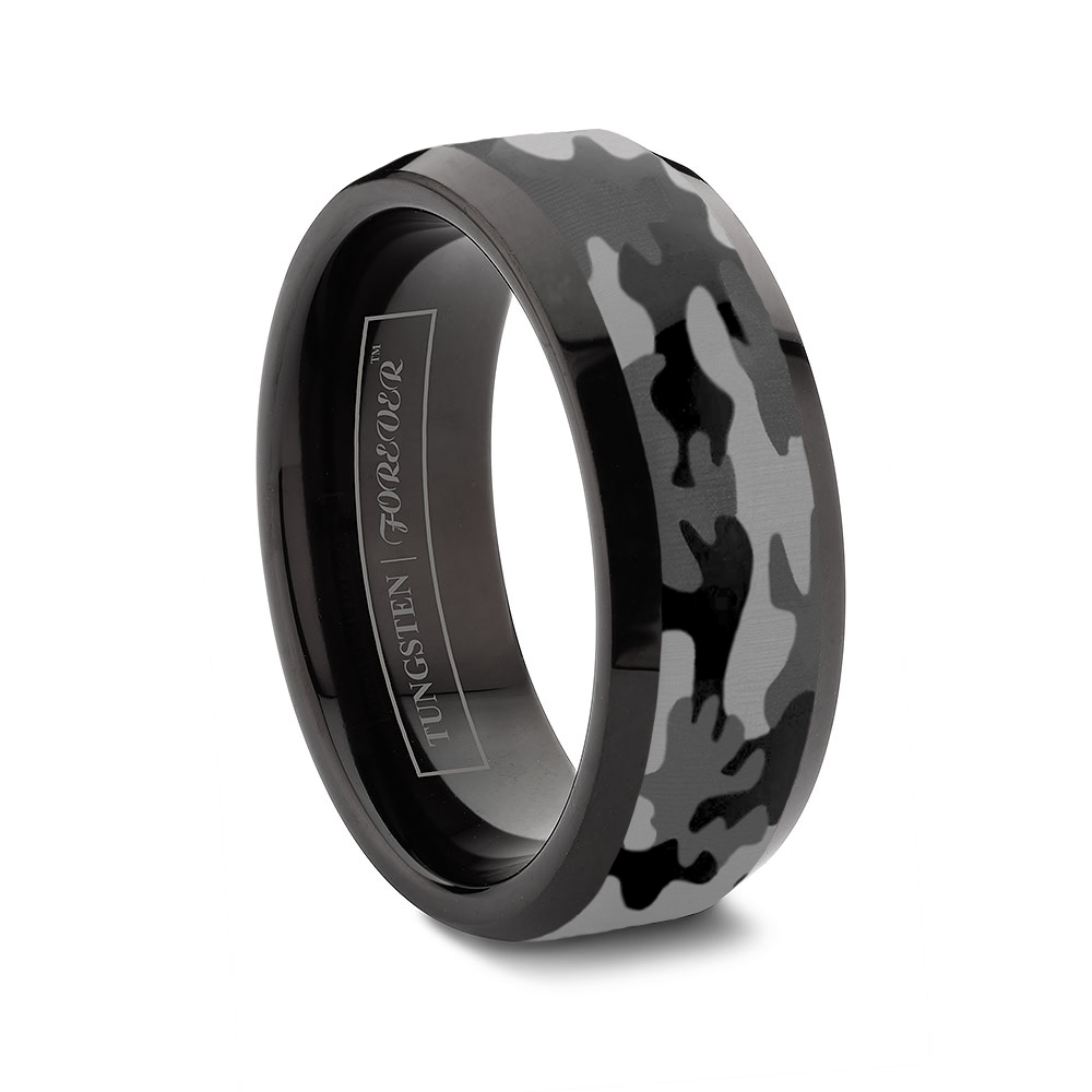 custom tungsten rings camouflage wedding ring sets Ceramic and Tungsten Diamond Ring Camo Tungsten Ring