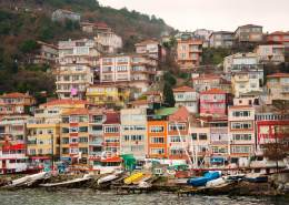 colorful houses on the banks of the Bosphorus in Istanbul