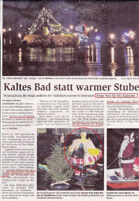"""""""Tauchende"""" Tanzsportler gewinnen 1. Preis beim 33. Medemschwimmen in Otterndorf"""