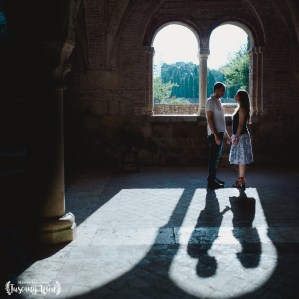 engagement in san galgano shadow light tuscanywed