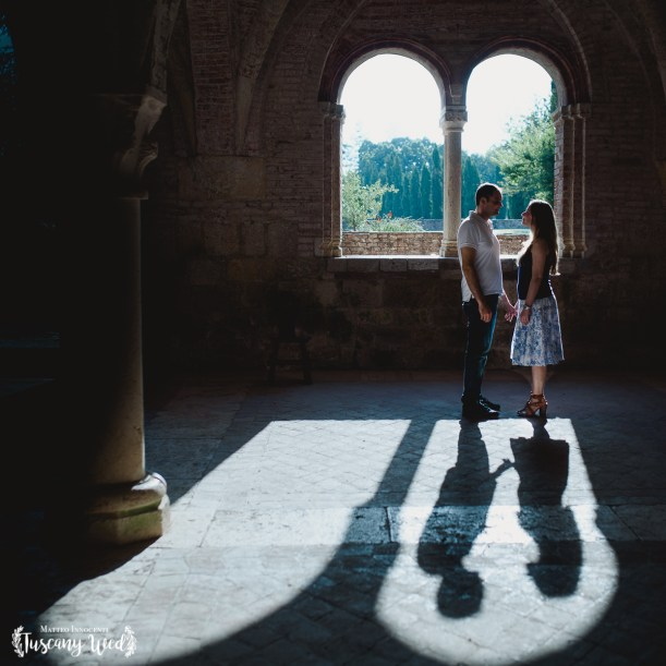 engagement in san galgano shadow light tuscanywed