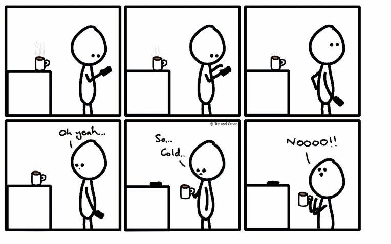 Tut and Groan Six Panels: Cold Tea cartoon