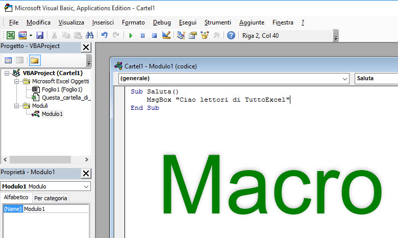 how to use in excel macro