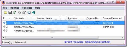 PasswordFox-recupera password Firefox