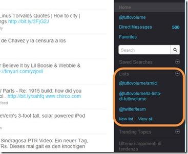Twitter Liste contatti sidebar