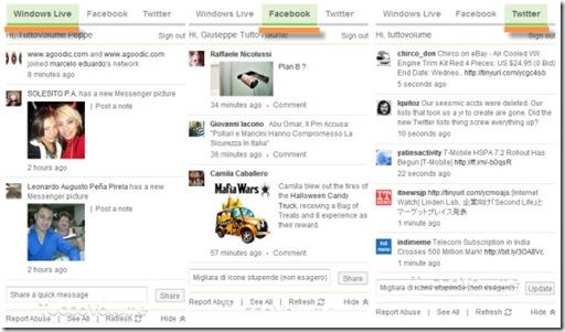 Nuovo MSN WIndows Live, Twitter e Facebook