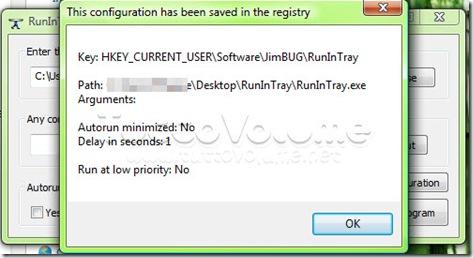 RunInTray salva configurazione