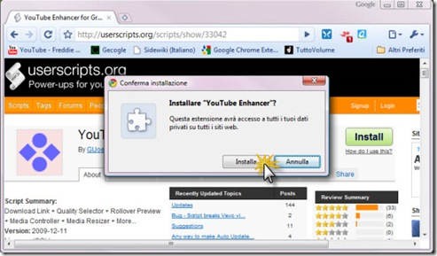 Chrome Installa Userscript