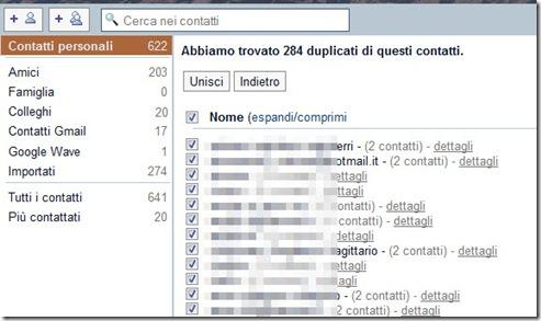 Contatti duplicati Gmail
