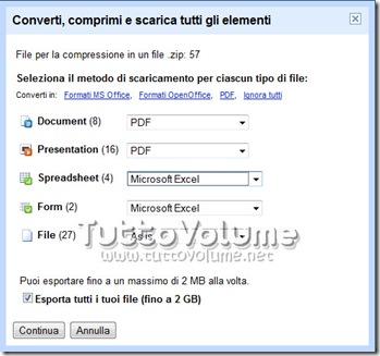 Google Docs esporta tutti i file