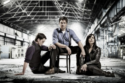 Torchwood: Children of Earth - (l to r) Ianto (Gareth David-Lloyd), Captain Jack (John Barrowman) and Gwen Cooper (Eve Myles)