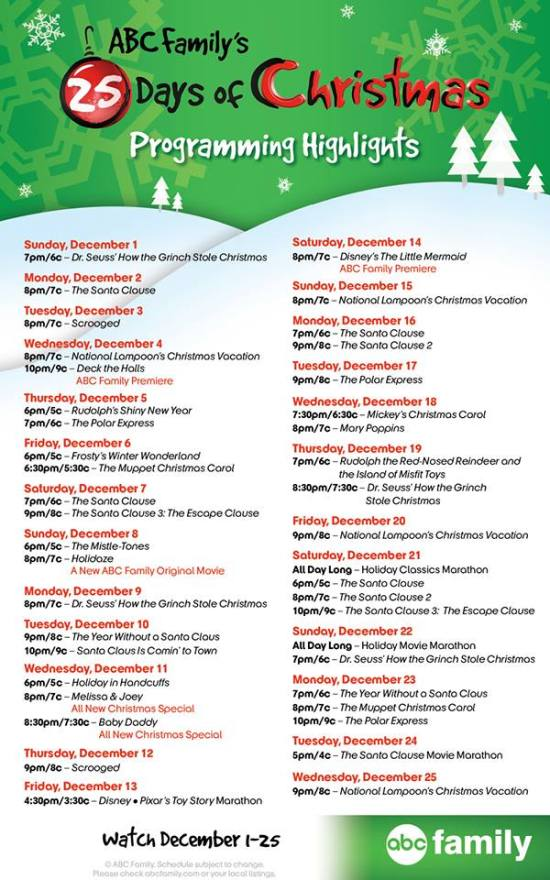 abc family 25 days christmas 2013 Programming Schedule