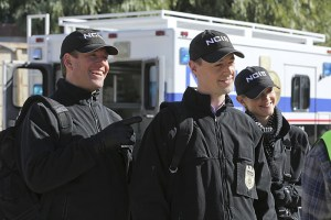 """""""Déjá Vu"""" -- While investigating the murder of a seaman who was set to testify before a grand jury, the NCIS team uncovers the resurgence of an international human-trafficking ring, on NCIS, Tuesday, Jan. 19 (8:00-9:00 PM, ET/PT), on the CBS Television Network. Pictured left to right: Michael Weatherly, Sean Murray and Emily Wickersham Photo: Michael Yarish/CBS ©2015 CBS Broadcasting, Inc. All Rights Reserved"""