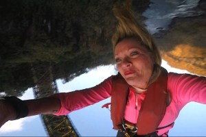 """""""My Tongue Doesn't Even Twist That Way""""--In this Road Block,  Denise (pictured) must bungee jump 364 feet off the Victoria Falls Bridge in Zimbabwe, on THE AMAZING RACE, Friday, Oct. 30 (8:00-9:00 PM, ET/PT) on the CBS Television Network. Photo: CBS ©2015 CBS Broadcasting, Inc. All Rights Reserved"""