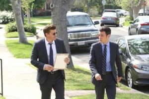 "BONES:   Booth (David Boreanaz, L) and Aubrey (John Boyd, R) in the ""The Woman in the Whirlpool"" episode of BONES airing Thursday, May 28 (8:00-9:00 PM ET/PT) on FOX.  ©2015 Fox Broadcasting Co.  Cr:  Patrick McElhenney/FOX"