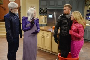 "MELISSA & JOEY - ""Frozen"" - Mel and Joe get stuck in a ski avalanche and are frozen for 100 years. When they thaw, they head to their home to find 120-year-old Lennox and Zander married. Mel and Joe want to resume their lives but discover the Big Brother government won't let them stay married and has already picked out the ""perfect"" new mates for them. This episode of ""Melissa & Joey"" airs Wednesday, July 8 (8:00-8:30 p.m. ET/PT), on ABC Family. Mel and Joe get stuck in a ski avalanche and are frozen for 100 years. When they thaw, they head to their home to find 120-year-old Lennox and Zander married. Mel and Joe want to resume their lives but discover the Big Brother government won't let them stay married and has already picked out the ""perfect"" new mates for them, on an all-new episode of ""Melissa & Joey,"" airing Wednesday, July 8 (8:00–9:00 PM ET/PT). (ABC Family/Eric McCandless)