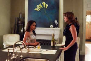 "SUITS -- ""Uninvited Guests"" Episode 509 -- Pictured: (l-r) Meghan Markle as Rachel Zane, Megan Gallagher as Laura Zane -- (Photo by: Shane Mahood/USA Network)"