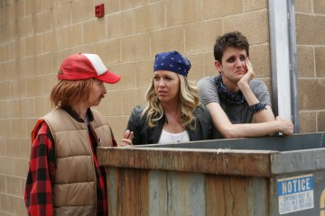 "PLAYING HOUSE -- ""Celebrate Me Scones"" Episode 208 -- Pictured: (l-r) Lennon Parham as Maggie Caruso, Jessica St. Clair as Emma Crawford, Zach Woods as Zach Harper -- (Photo by: Michael Yarish/USA Network)"