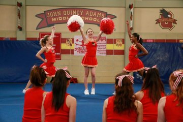 """GIRL MEETS WORLD - """"Girl Meets Rah Rah"""" - It's time for the annual cheerleading tryouts, and Riley is determined to finally make the squad. This episode of """"Girl Meets World"""" airs Friday, October 9 (9:28 PM - 9:58 PM ET/PT), on Disney Channel. (Disney Channel/Mitch Haaseth) COURTNEY SCHWARTZ, ROWAN BLANCHARD, SAVANNAH WINTERS"""