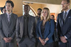 Ben Schwartz as Clyde Oberholt, Don Cheadle as Marty Kaan, Kristen Bell as Jeannie Van Der Hooven and Josh Lawson as Doug Guggenheim in House of Lies (Season 5, Episode 03).- Photo:  Michael Desmond/SHOWTIME - Photo ID:  HouseofLies_503_3203.R