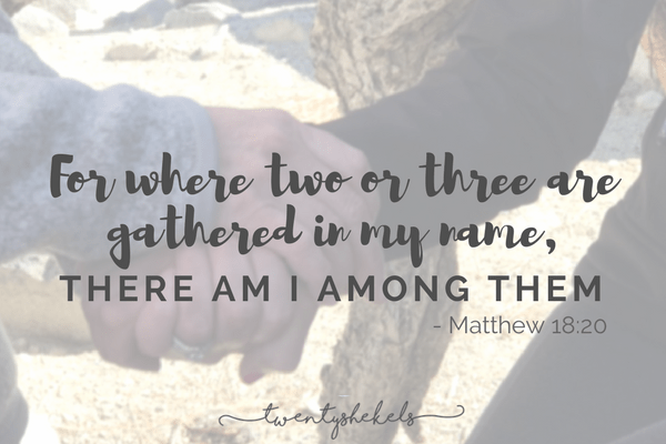 "Copy of ""For where two or three are gathered in my name, there am I among them."" Matthew 18-20"