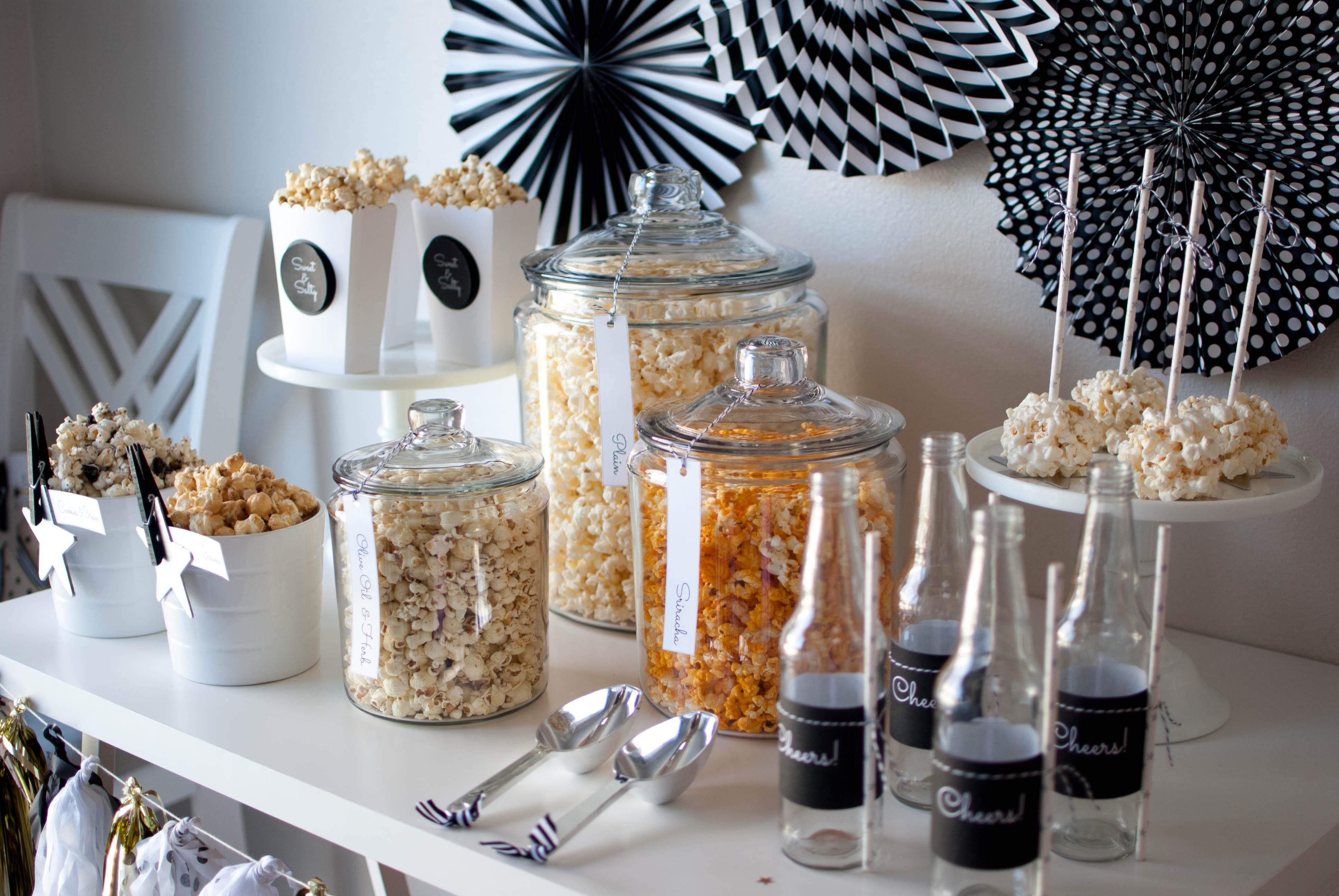 The Oscar Party Popcorn Bar Ideas