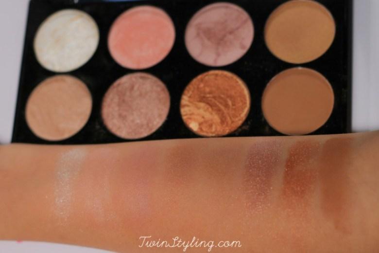 ultra palette blush in golden sugar make-up revolution swatches