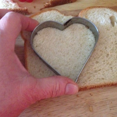 cutting bread hearts