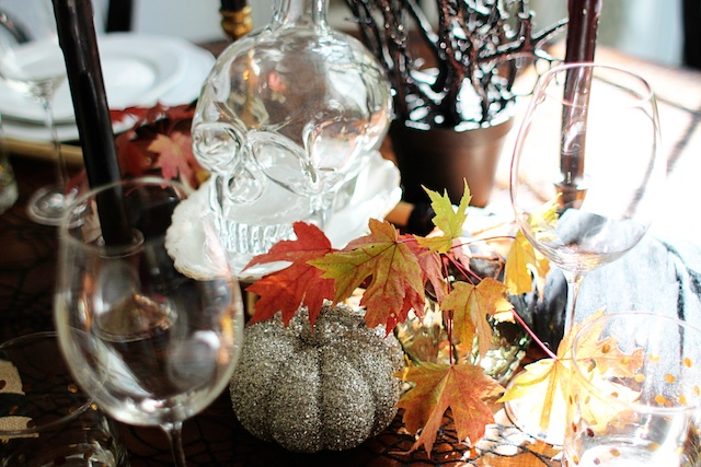 witch tablescape leaves blog