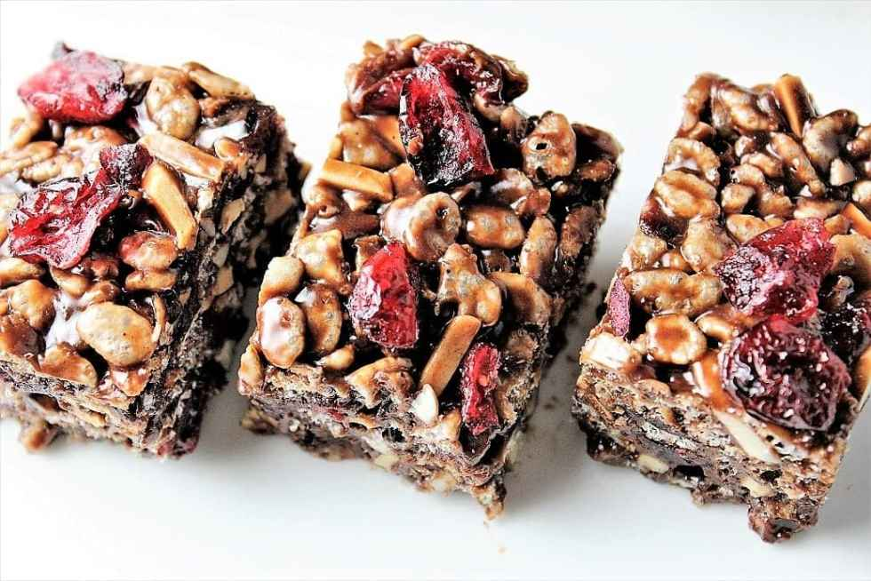 Chocolate Cranberry Rice Crispy Squares