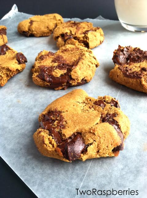 Soft Smashed Chocolate Chunk Cookies TwoRaspberries