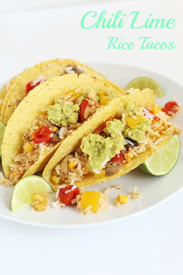 Chili Lime Rice Tacos are fresh with a little spice! Stuffed with Corn, mushrooms, pepper and tomatoes. Easy, vegan , gluten free, low fat, oil free! / TwoRaspberries.com