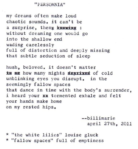 """Persomnia"" by billimarie typewriter poetry"
