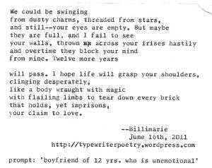 """Boyfriend"" by billimarie typewriter poetry"