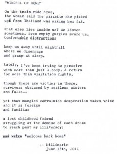"""""""Mindful Of Home"""" by billimarie typewriter poetry"""