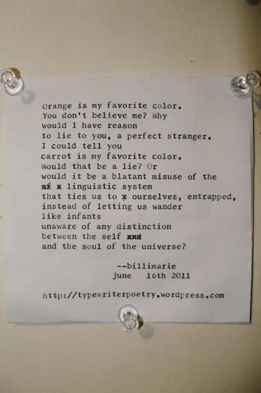 """""""Orange"""" by billimarie typewriter poetry"""