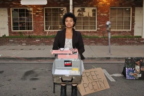 Portrait of billimarie typewriter poetry canoga park artwalk