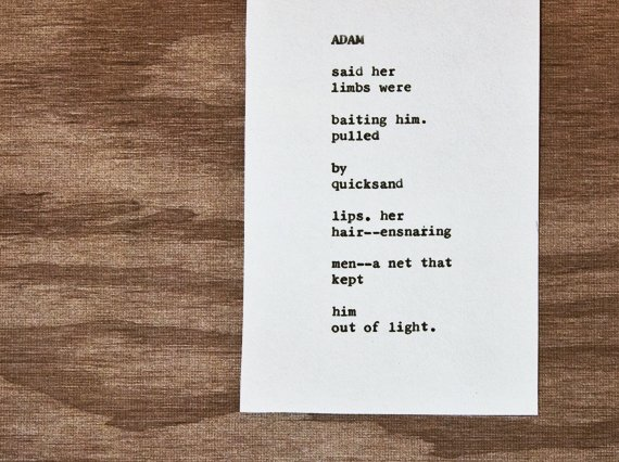 """Etsy typewriter poetry poem on wooden card stock background. """"Adam"""" by billimarie, on sale at the Typewriter Poetry Etsy shop. Medium shot, in color."""