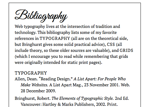 Bibliography with PT Serif